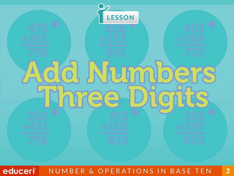 Add Three Digit Numbers With Regrouping Lesson Plans